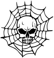 Skull im Netz, Totenkopf, Aufkleber Sticker, Tuning, Kult, Oldschool in 15X16cm!