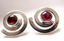 Round Garnet Stud Earrings in Silver Spiral 925 Sterling Silver New