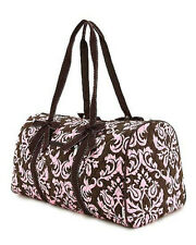 Brown & Pink Damask Quilted Carry On Duffle Bag Luggage