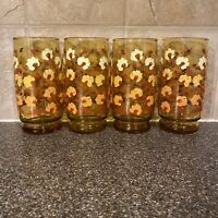 """Set Of 4 MCM Amber Drinking Glasses With Dandelion Flowers 6"""""""