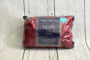 Royal Opulence Burgundy Queen 6 Piece Luxury Satin Sheet Set Stripe 230 Thread