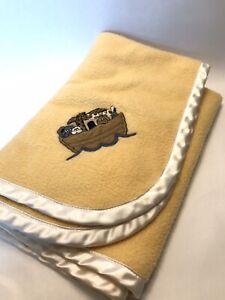 Babyrich By Woolrich Baby Blanket Yellow Fleece W Trim Embroidered Noahs Ark Vtg