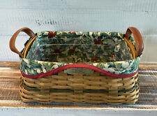 Longaberger 2002 Christmas Collection Basket Protector & Holly Linen Combo