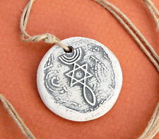 Messianic Clay Pendant Necklace, Grafted In Menorah Star of David Fish Holy Land