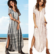 Women Boho Maxi Holiday Long Dress Summer Beach Split Loose Casual Kaftan AU