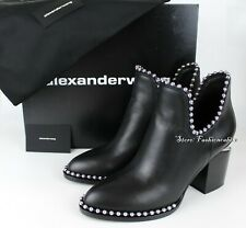 New ALEXANDER WANG Gabi Booties Shoes (w Studs), Black Leather, EUR 38.5, $695