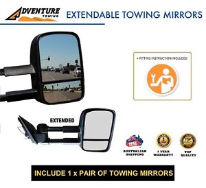 Adventure Towing Extendable Mirrors for Toyota Prado 120 Series 02/03– 10/09 BLK