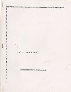 """RAY BREMSER """"BORN AGAIN"""" 1985 - BEAT POETRY - 1ST EDITION - AM HERE BOOKS 1/250"""