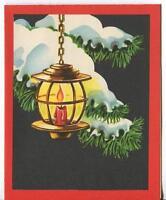 VINTAGE CHRISTMAS CANDLE LANTERN PINE SNOW ART DECO MID CENTURY GREETING CARD
