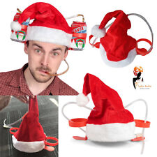 Christmas Santa Claus Hat Holds 2 Beverages Cheers Drinking Party Costume Item