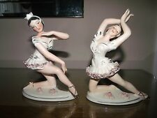 PAIR ANTIQUE GERMAN DRESDEN like LACE LADY BALLERINA DANCER PORCELAIN FIGURINE