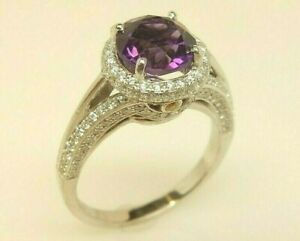 Designer SIMON G. 18K White Gold 1.38 ct Amethyst & .71 ct tw Diamond Halo Ring