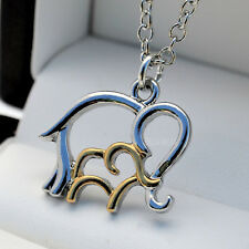 """Silver Plt & Gold Two Tone Mother & Baby Elephant Pendant 18"""" Necklace Chain N22"""