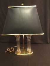 Waterford Crystal Parkmore Lamp Two Columns Brass Desk Lamp Black Gold Shade