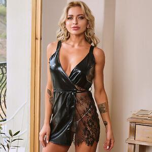 Faux Leather Laces Obsessive Erotic Lingerie Wrap Dress Chemise Babydoll D2215