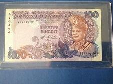 XT MALAYSIA 5TH SERIES AZIZ TAHA RM 100 PREFIX ZB 7710101 RARE NICE NUMBER