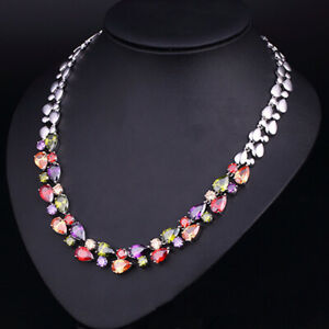Handmade Natural Morganite Garnet Topaz Gemstone Solid Silver Charming Necklace