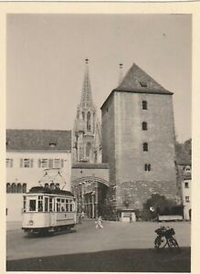 Vintage Foto Straßenbahn Regensburg Kirche 1950