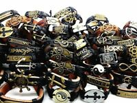 Wholesale 30pcs Mix Lots Handmade Metal Leather Cuff Bracelets for Men Women