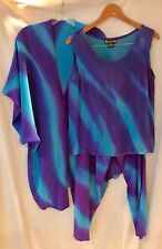 Retro Blue/Purple Tie Dye Silk 3-Piece Kimono Suit Sz S/M