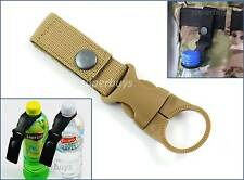 Khaki Tactical MOLLE Webbing Strap Clip Water Drink Bottle Holder For Waist Belt