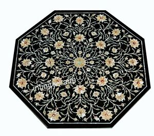 21 Inches Black Round Marble Coffee Table Top Mop Inlaid Center Table for Home