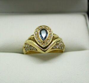 Beautiful 18 Carat Gold Blue Tourmaline And Diamond Dress Ring Size N