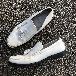 Vtg 1970s Pebbled Leather Off White V Cleat Mod Hipster Rockabilly Loafers 12 C