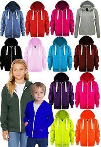 Boys Girls Kids New Cotton Plain Zip Hoodie Pullover Sweatshirt Age 7-13 Years