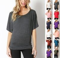 NEW CUTE SOLID PLAIN BATWING DOLMAN 3/4 SLEEVE COMFY TOP BLOUSE COLORS S-3X