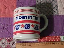 BORN IN THE USA (Coffee Mug) by Mt Clemens Pottery (RED_WHITE_BLUE) Vtg. CLEAN