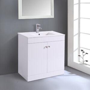 800mm Bathroom Vanity Unit Basin Storage 2 Door Cabinet Furniture Gloss White