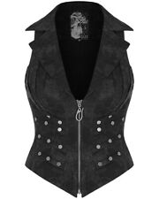 Punk Rave Womens Apocalyptic Goth Waistcoat Vest Top Black Studded Grunge Corset