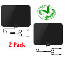 2 Pack 60 Miles Thin Flat Indoor HDTV Amplified HD TV Antenna 10FT Coax w/ Tape