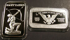 "SAGITTARIUS ""the ARCHER"" ZODIAC SILVER BAR ( 15 GRAINS of .999 SILVER )"