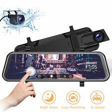"12"" HD 1080P Dual Lens Car DVR Camera Recorder Dash Cam Video Rearview Mirror"