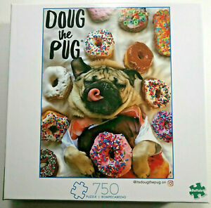 Doug The Pug 750 Piece Puzzle New By Buffalo Funny Dog and Donuts