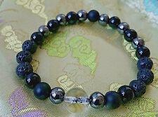 Himalayan Hematite GemStone Onyx Black Lava Stretch Beaded Bracelet