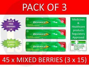 3 x 15 Berocca Energy Vitamin B Mixed Berries Flavoured Effervescent 45 Tablets