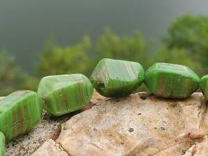 (12) Vintage Green Glass Beads with Copper Shimmer Stripes DIY Jewelry Making