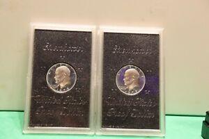 (2) 1973-S Eisenhower 40% Silver Dollar BU UNC US Mint PROOF