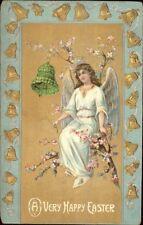 Easter - Angel in Tree & Green Flower Bell c1910 Postcard