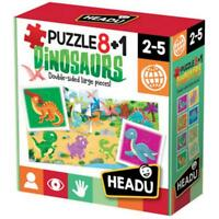 puzzle 8+1 DINOSAURS, DINOSAURI, double-sided large pieces! HEADU, (2-5 anni)