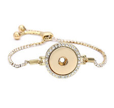 Rose Gold  Rhinestone Pull Closure Bracelet Drill Fit 18mm Noosa Snaps Button