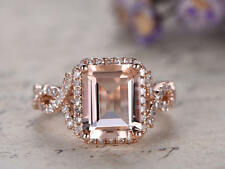 2.34Ct Emerald Cut Morganite Simulated Diamond Halo Ring Silver in Rose Gold Fns