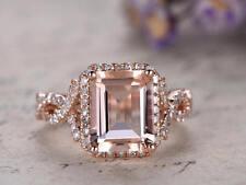 2.34Ct Emerald Cut Morganite Diamond Halo Engagement Ring 14K Rose Gold Finish
