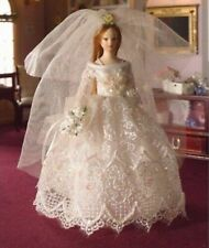 DOLLS HOUSE DOLL 1/12th SCALE BRIDE  CREAM LACE & SATIN GOWN  Streets Ahead