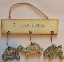I LOVE TURTLES WOODEN SIGN WALL DECOR PLAQUE HOME DECOR ORNAMENT - NEW