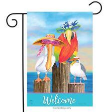 """Coastal Bird Welcome Summer Garden Flag Nautical Pelican Seagull 12.5"""" x 18"""""""