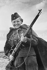 Soviet woman Sniper WW2 Russian soldier Red army photo photograph 4x6